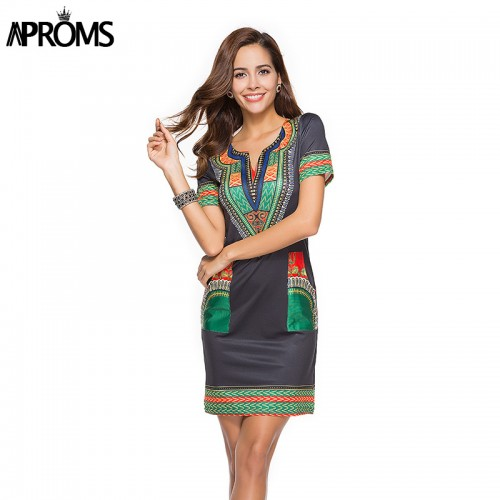 Modisches Tunika Kleid Women Sommertrend 2018 afrikanisches Design Dashiki Kleid Sommerkleid