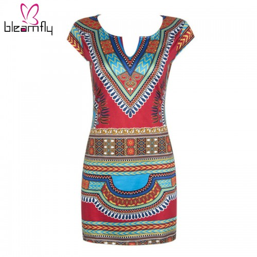 Boho Kleid Dashiki Vintage Tunika Mini Beach Dress