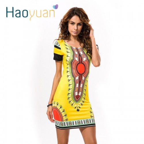 Dashiki Kleid Casual Mini Ladies Kleid
